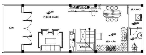 Bản vẽ nhà 1 tầng 1 tum