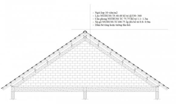 Kết cấu khung giàn thép ba lớp lợp ngói