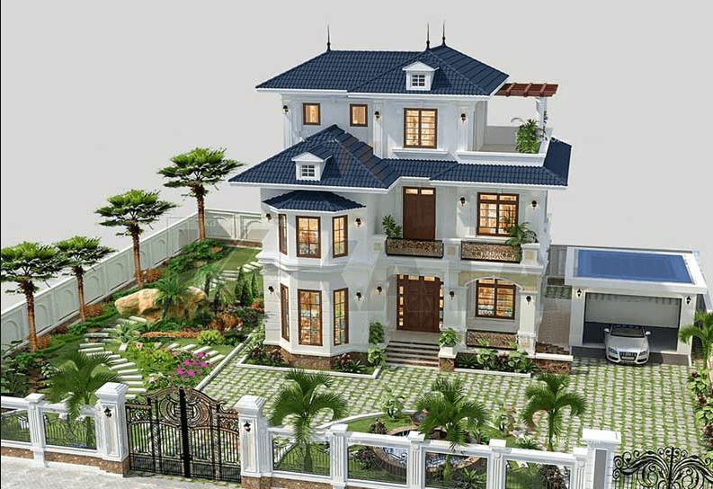 Mẫu thiết kế biệt thự 3 tầng có sân vườn