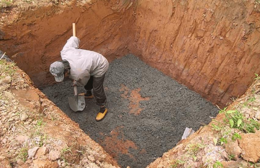 Hố móng được làm phẳng sau khi đào