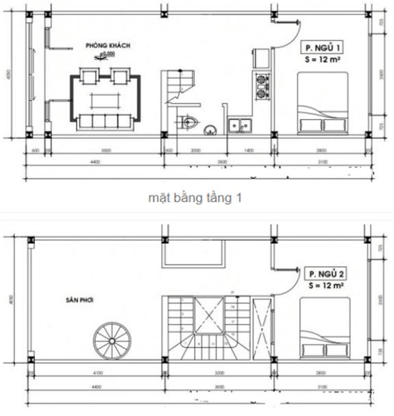 Bản vẽ nhà 4x11m 2 tầng có 1 phòng khách
