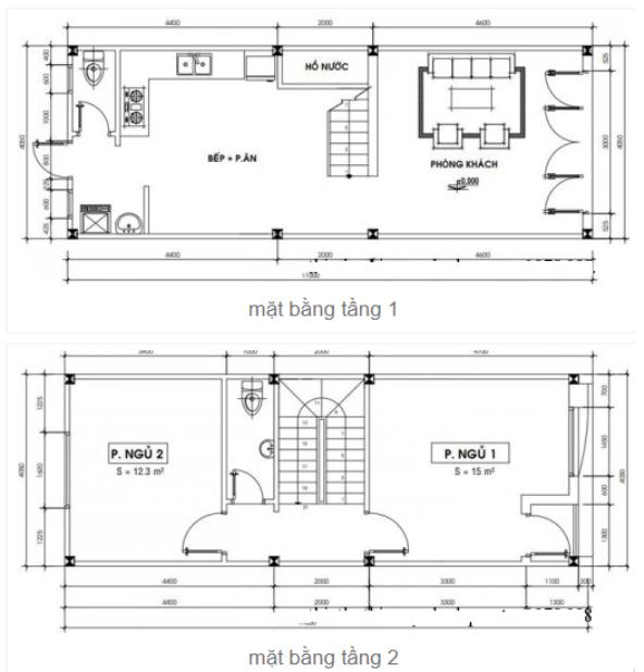 Bản vẽ 4x11m 2 tầng có 1 phòng khách
