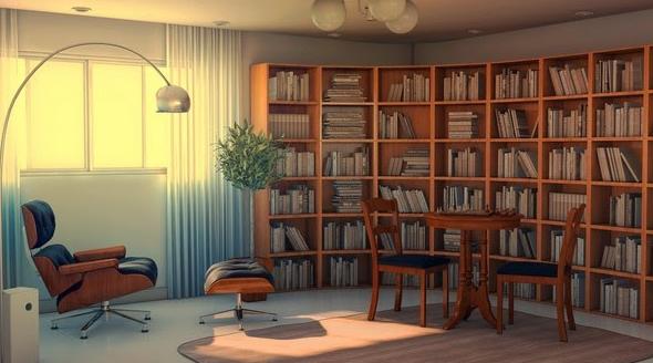 Bày trí thêm bộ bàn đọc sách tách biệt với kệ sách