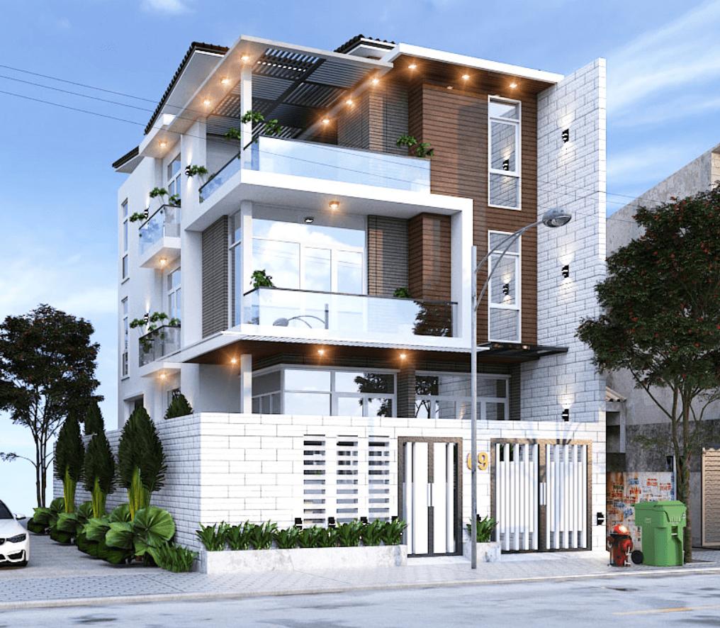 Thiết kế nhà phố sắp xếp các hình khối tạo sự thu hút cho căn nhà