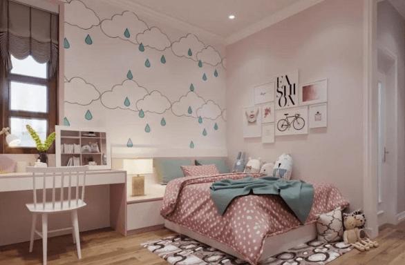 Tone màu ngọt ngào kết hợp với giấy dán tường tạo hiệu quả trang trí