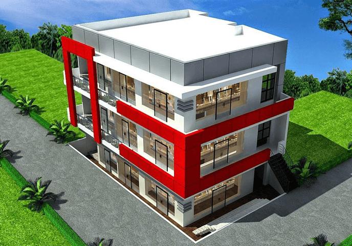 Thiết kế nhà văn phòng 3 tầng nhận diện thương hiệu