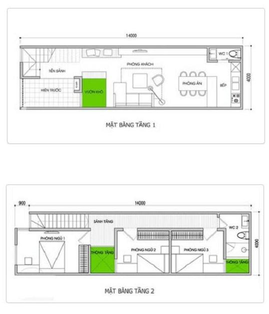Bản thiết kế nhà 2 tầng mái xéo 50m2