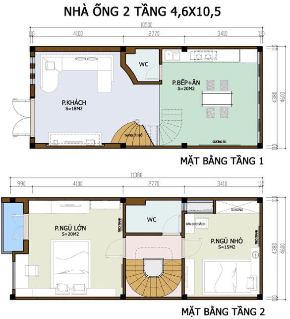 Bản cắt thiết kế phòng cho mỗi tầng