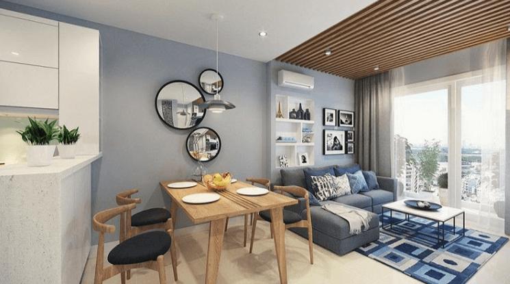 Có thể thiết kế phòng khách nối liền với nhà bếp để tiết kiệm thêm diện tích