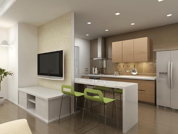 Phòng khách và phòng bếp liền kề nhau