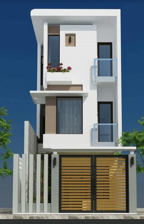 Mẫu thiết kế nhà 50m2 3 tầng với hình khối nổi bật