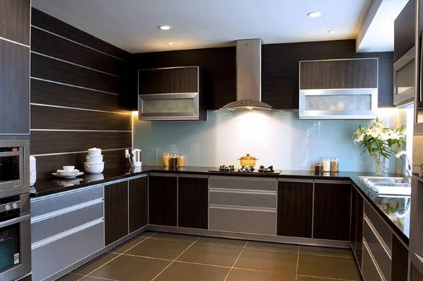Kết hợp màu sắc hài hòa giữa nội thất gian bếp và ánh sáng xung quanh